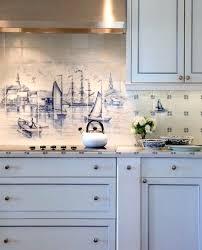 Kitchen Tile Backsplash Murals Nautical Tile Backsplash With Mural Design By Nantucket
