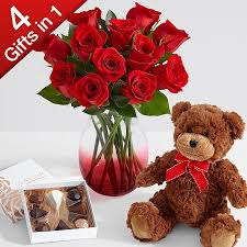 roses for valentines day one dozen roses with ruby ombre vase chocolates
