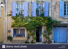 traditional old french village house with blue shutters gruissan