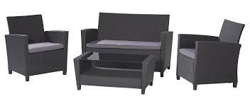 Black And Grey Sofa Set Amazon Com Cosco Products 4 Piece Malmo Resin Wicker Patio Set