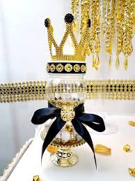 black and gold centerpieces black and gold prince princess crown baby shower centerpiece