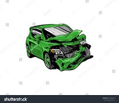 hand drawn car crash illustration auto stock vector 515445922