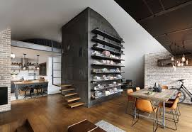 home furniture interior design custom reconstructed attic loft apartment with hipster modernity