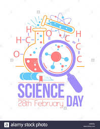 greeting card holiday national science day icon in the linear