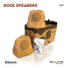 bluetooth outdoor rock speaker canyon sandstone stereo pair by