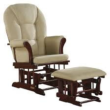 Glider Recliner With Ottoman Shermag Alexis Glider Rocker And Ottoman Combo Cherry With Beige