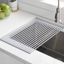 over the sink dish drying rack kraus 20 5 in over sink roll up dish drying rack in grey krm 10grey