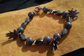 magnetic stone bracelet images Cannabis leaves magnetic hematite and gray jade stone bracelet jpg