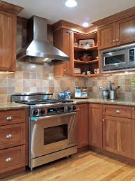 Kitchen Tile Backsplash Ideas With Granite Countertops Granite Countertop Wood Stained Cabinets Hotpoint Integrated