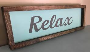 bordered relax wood sign gift for her lake house decor rustic