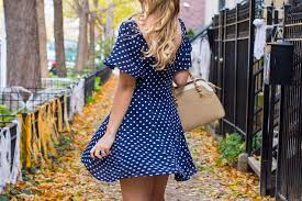dot print swing dress october blogger link up style by joules