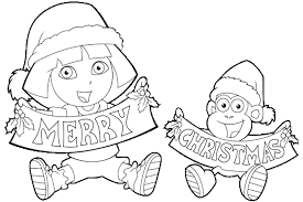 dora explorer christmas coloring pages getcoloringpages
