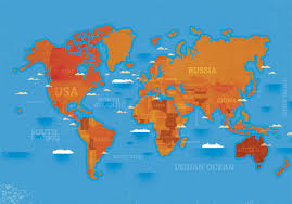 World Map Russia by Michelle Hird World Map