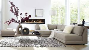 wonderful living room design with comfy cream corner leather sofa