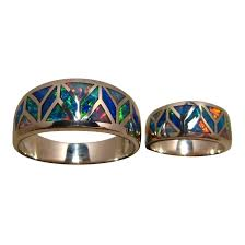 matching rings exceptional inlay opal rings for two in 14k gold flashopal