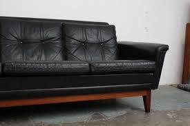 Black Leather Mid Century Sofa Vintage Black Leather Mid Century Modern Sofa With Rosewood Base
