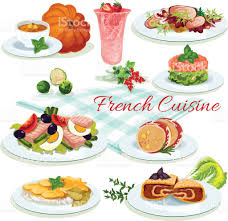 french cuisine popular dishes poster design stock vector art
