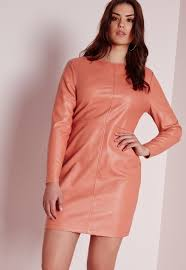missguided plus size faux leather dress pink in pink lyst