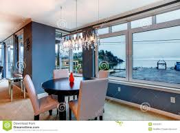 Apartment Dining Room City Apartment Dining Room With Round Small Table And Blue Walls