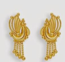 gold earrings for women images gold earrings for women in 22k gold with cz ger6642 indian