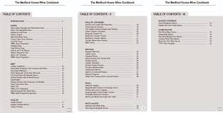 cookbook table of contents the medford house wine cookbook content