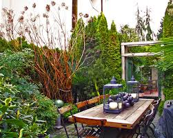 shady narrow side yard patio garden house design with and