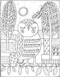 Hooked Rug Patterns Primitive Rug Hook Crafts Paper Pattern White Owl Folk Art Abstract