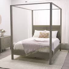 Canopy Bedroom Sets For Girls In A Simple Clean Lined Silhouette With A Weathered Gray Finish