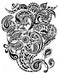 handdrawn henna mehendi abstract mandala flowers and paisley