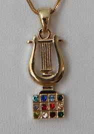 hoshen stones harp of david with hoshen stones chains israel and