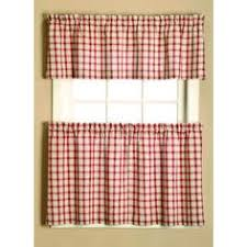 Checkered Kitchen Curtains Apple Gingham Checkered Plaid Kitchen Tier Curtain