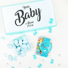 personalised u0027baby boy u0027 baby shower sweets gift box by sweet