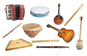 musical instruments from around the world isolated on white