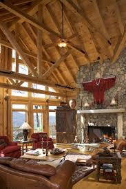 rustic house interior living room high ceiling with exposed wooden