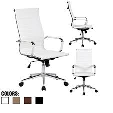 White Modern Desk Chair Amazon Com 2xhome Modern High Back Ribbed Pu Leather Tilt