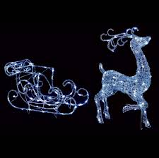 outdoor light up reindeer with sleigh 140 white leds