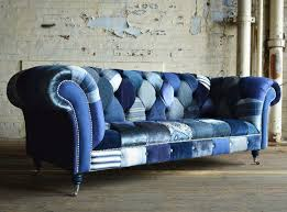blue chesterfield sofa chesterfield sofa fabric 3 seater on casters navy abode sofas
