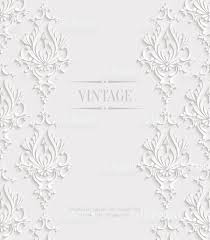 Wallpaper Invitation Card Vector 3d Vintage Invitation Card With Floral Damask Pattern Stock