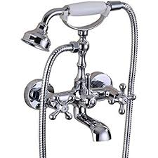 Handheld Bathtub Faucet Chrome Finish Bathroom Wall Mounted Mixer Tub Filler Shower Faucet