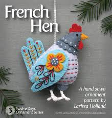 hen pdf pattern for a sewn wool felt ornament