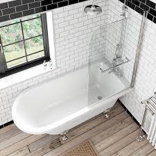 the bath co dulwich freestanding shower bath and bath screen with dulwich freestanding shower bath and bath screen with rail