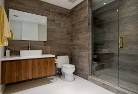 Contemporary Tile Bathroom - wood grain porcelain tile bathroom contemporary with bath tub