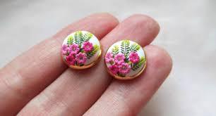 polymer clay stud earrings lena handmade jewelry