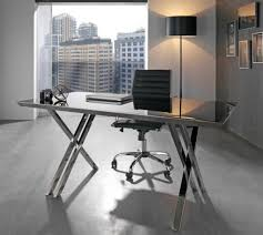 Stainless Desk Perseus Contemporary Glass And Chrome Stainless Steel Office Desk