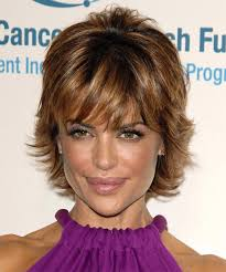 what is the texture of rinnas hair lisa rinna short straight formal hairstyle with layered bangs
