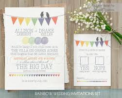 Wedding Invitation Card Diy Rustic Wedding Invitation Printable Set Rainbow Wedding