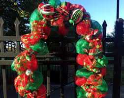 Pre Decorated Christmas Garland Deco Mesh Garland Etsy