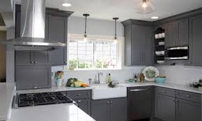 kitchen room grey kitchen cabinets with black countertops