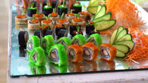 colourful sushi buffet display in restaurant stock footage video