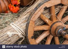 thanksgiving theme old cart wheel wisp of straw dry hay and pumpkin and orange